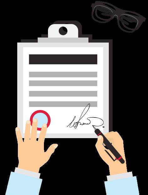 מהו דוח בודק שכר מוסמך, איור של מסמך חתום - Paycheck